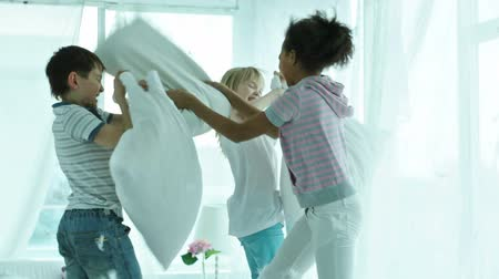 poduszka : Kids pillow fighting so hard that feathers falling all around them