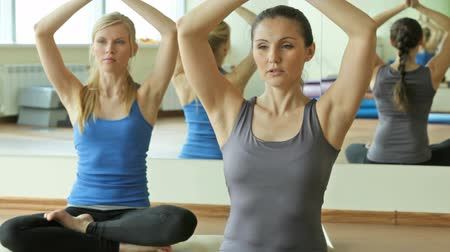 despreocupado : Yoga instructor doing breathing exercise in a lotus pose, the other girl following