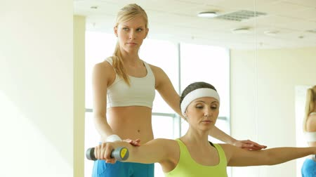fit : Girl with dumbbells sitting on a fitness ball and exercising while her friend ensuing her Stock Footage