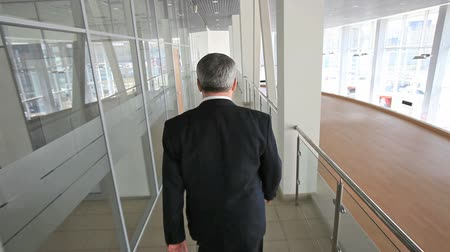 walking back : Senior businessman walking confidently through the office building