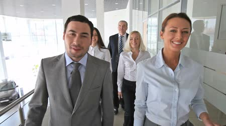 főnök : Group of business people walking down the corridor, the male leader smiling at cam with his thumb up  Stock mozgókép
