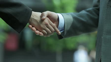 сотрясение : Close-up of two business people shaking hands to conclude the deal Стоковые видеозаписи
