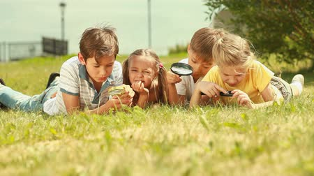 family life : Children lying on the lawn with magnifying glasses Stock Footage