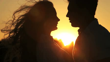 romantic couple : Close-up of a charming couple, man speaking the words of love to his lovely sweetheart Stock Footage