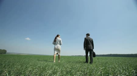 walking man : Friendly business people walking away across grassy field in the country Stock Footage
