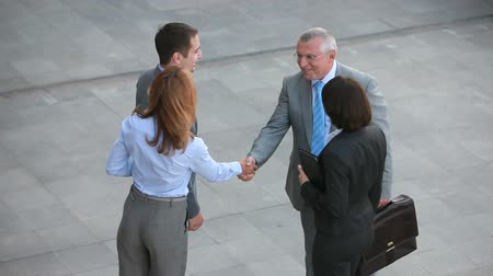 collaborator : Positive business people shaking hands with their new partners and leading them away