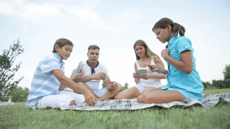 дичь : Lovely family of four playing cards outdoor on a summer day Стоковые видеозаписи