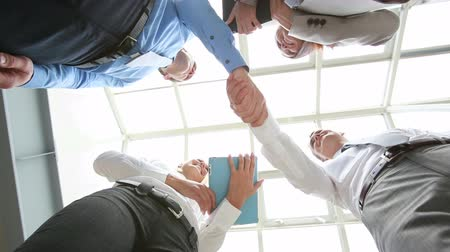 collaborator : The below view of satisfied businessmen shaking hands, their female colleagues smiling to each other Stock Footage