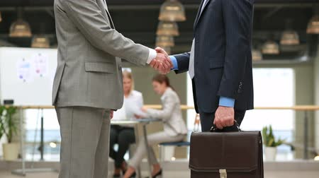 agreement : Close-up of elegant businessmen shaking hands in sign of respect