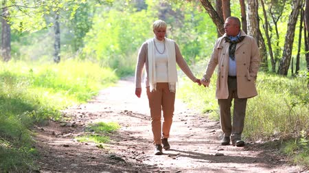 senior lifestyle : Charming seniors taking an unhurried walk in late summer
