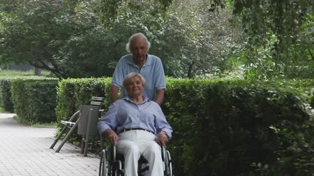 rokkant : Senior couple enjoying their walk in the park, woman being in a wheelchair