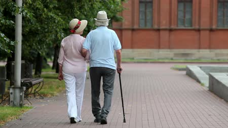 тростник : Active retirees taking a walk in the summer park