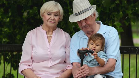 senior lifestyle : Grandparents looking after their grandchild on a summer weekend Stock Footage