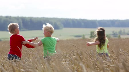 despreocupado : Children trying to outrun each other in the countryside, boys being rivals Stock Footage
