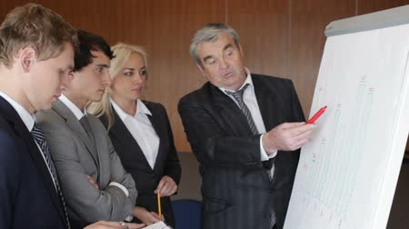 estratégico : Experienced executive explaining financial processes to his younger colleagues