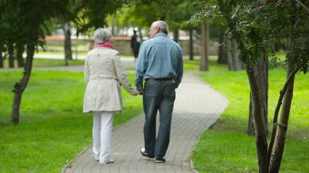 emekli : Carefree seniors walking away in the park holding hands with affection