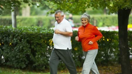 senior lifestyle : Couple of elderly people jogging in the park to keep fit and healthy