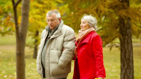 two people talking : Retired husband and wife walking and talking in the open air
