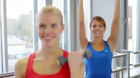 бицепс : Close-up of cheerful girls doing dumbbell exercises for biceps Стоковые видеозаписи