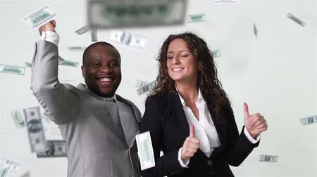 gotówka : Business partners having fun dancing among flying cash Wideo