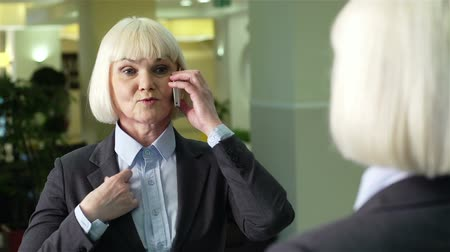 элегантный : Charming business lady talking over the phone and looking at herself in the mirror