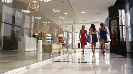 nőies : Group of friendly females walking down corridor in the mall