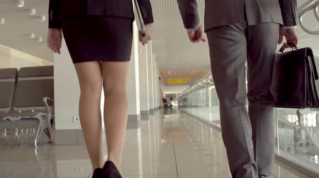 lobi : Camera following two business partners walking and talking in slow-mo, tilt Stok Video