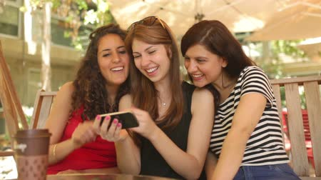 bestie : Three girls taking picture of themselves Stock Footage