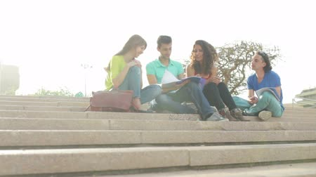 способствовать : Dolly day shooting of four young people sitting on stairs outdoors and working on project