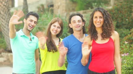 posando : Four friends waving hands to camera for a snapshot Stock Footage