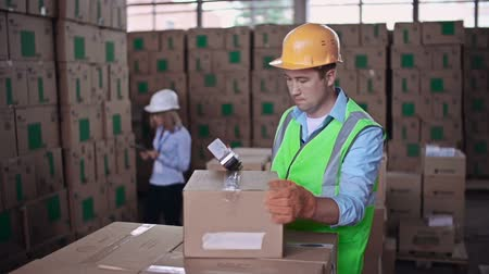распределение : Close up of worker packing merchandise while female auditor taking inventory Стоковые видеозаписи