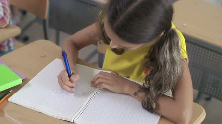 padronizada : Close up of girl doing sums in her notebook Vídeos