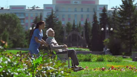 caregiver : Nurse with patient in wheelchair passing by camera in slow motion Stock Footage