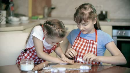 bolachas : Two girls preparing bakery in the kitchen