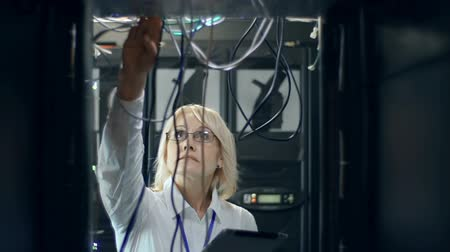 kablo : Close up of serious woman in scientific institution unit inspecting innovative computer cluster