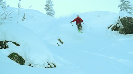 snowcat : Low angle of skillful skier dashing through deep powder approaching camera Stock Footage