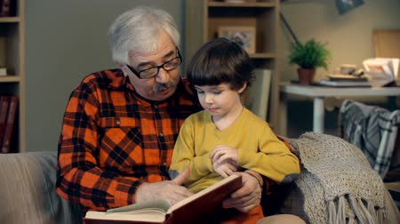grandchild : Portrait of grandfather teaching his grandson to read