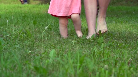 çim : Low section of baby supported by mother walking on green grass barefoot