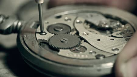 unscrewing : Unrecognizable master fixing watch