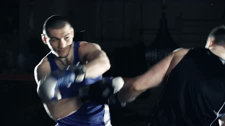match : Slow motion of two boxers sparring