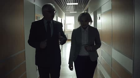 collaboration : Slow motion of two business partners strolling along the office corridor