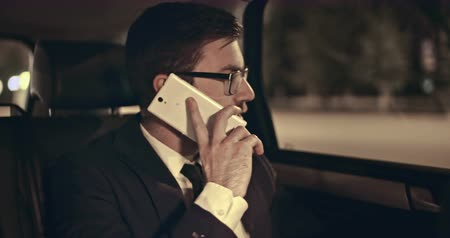 business man : Young manager answering mobile phone in back seat of moving car