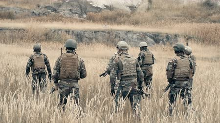 bulletproof : Rear view of ranger team walking through a field in slow motion Stock Footage