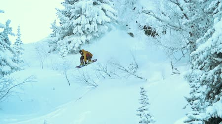 snowboard : Cool snowboarder riding down the mountain and jumping from the hills