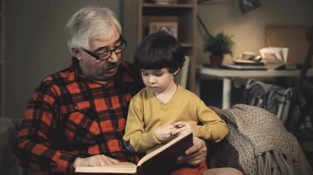 livro : Grandfather showing his cute grandson book illustrations and telling a story Vídeos