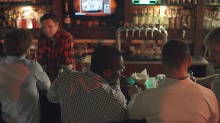 craft beer : Rear view of men standing in the pub and drinking beer: two of them talking to bartender while three businessmen standing next to them discussing something Stock Footage