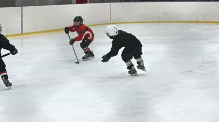 sport dzieci : Children in red and black uniform playing professional ice hockey in slow motion