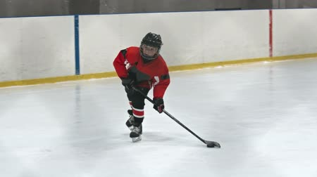 hockey rink : Two kids playing hockey on ice rink: one boy in red uniform handling puck and shooting it into the net
