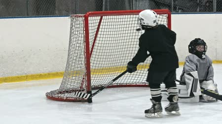hockey rink : Little kids training professional hockey on an ice rink: one boy heading puck into the net and scoring goal Stock Footage