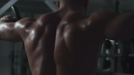 Rear view of man with naked sweating back doing side raise with dumbbells Wideo